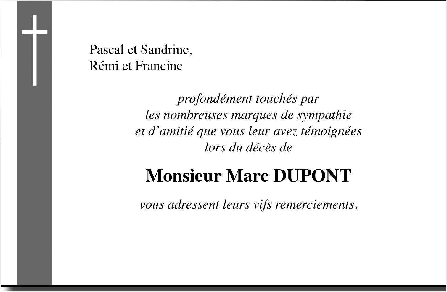 carte de remerciement décès avec photo Faire part deuil carte de remerciement deuil Bandeau avec Croix N