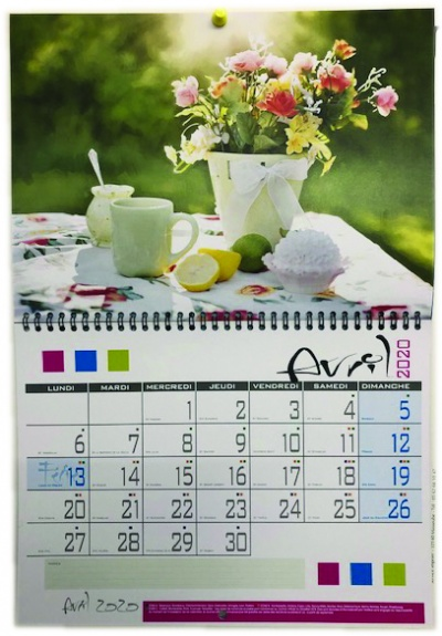 Calendrier paysage mural simple A3