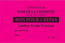 Billetterie - Ticket 1 volet ticket repas couleur fushia