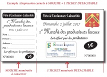 Billetterie - Ticket 1 volet Billetteries : entrée, tombola, cantine...